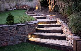Small Picture Outdoor stone patio designs garden railway sleeper steps second