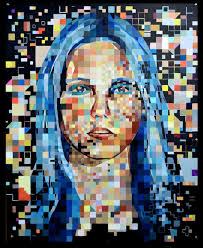 self portrait in the style of chuck close 30 x 40 acrylic on multia art board painted from a black white photograph in blue and orange hues december