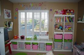 Decorations:Interesting Playroom Design With Cute Pink Decoration Ideas  Small Kids Playroom Storage Solutions With