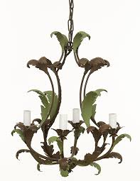 cl31 painted leaf chandelier rust and green finish