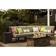 garden treasures palm city 5 piece black steel patio conversation set with tan cushions