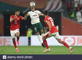 Ar Rayyan, Qatar. 11th Feb, 2021. Palmeiras' Mayke (C) battles for the ball  with Al Ahly's Mohamed Sherif (L) and Ayaman Ashraf during the FIFA Club  World Cup Third Place soccer match
