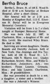Mrs. Robertha Levitt-McClinton-Bruce (Bertha Bruce) obituary. -  Newspapers.com