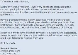 Resume Sample Medical Transcriptionist Cover Letter Best