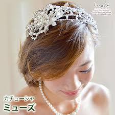 ヘッドドレス 造花 髪飾り カサブランカ カチューシャ ミューズ ビーズ