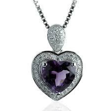 sterling silver genuine amethyst heart pendant rhodium bonded
