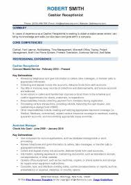 experience as a cashier cashier receptionist resume samples qwikresume