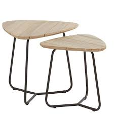 axel triangle teak coffee table set of 2