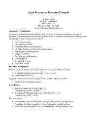 Sample Resume For Loan Processor Loan Processor Resume Objective Bongdaao Com Best Mortgage Of Sample 2