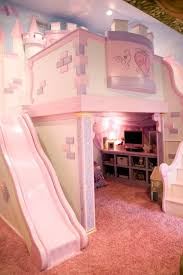 Check out this princess-themed girl's room featuring a custom castle loft  bed on HGTV