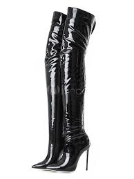 black over knee boots high heel boots pointed toe patent leather thigh high boots no