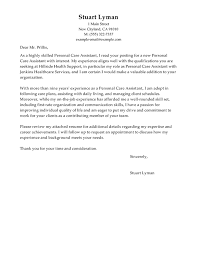 Best Personal Care Assistant Cover Letter Examples Livecareer
