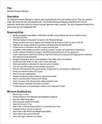 Restaurant Manager Duties For Resume Beauteous Assistant Restaurant