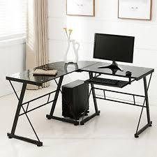 home office black desk. lshape corner computer desk pc glass laptop table workstation home office black a