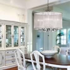 organza silk drum shade crystal chandelier traditional dining room