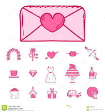 Wedding Outline Married Engagement Icons Vector Illustration Stock