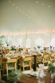 Tent String Lights Botanical Greenery Wedding Table Setting In Tent With String