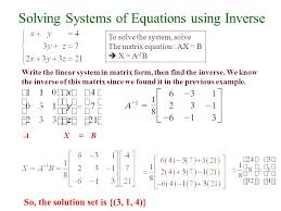 solving systems of equations using inverse