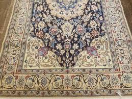 4 x 7 vintage hand made fine persian nain wool silk high lights rug nola nice