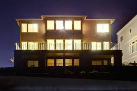 view modern house lights. Download House With Lights On. NIght View Stock Photo - Image Of Northwest, Design Modern T