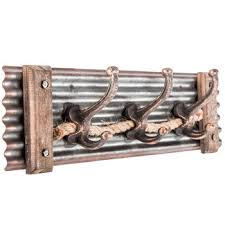 corrugated metal wall decor with hooks