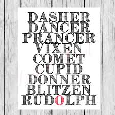 Reindeer Names List Rudolph Christmas Printable Instant Etsy