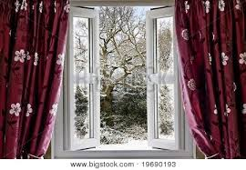 Open Window With View To A Snowy Winter Scene Image Cg1p9690193c Winter  Window Curtains