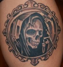 frame tattoo designs. A Scary Grim Reaper With Circle Frame Tattoo Design For Men. Designs .