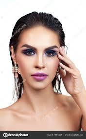 Detailní Portrét Vogue Krásná Bruneta žena S Stylový Make Up A Mokrý