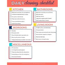 Cleaning Chart Checklist Daily Cleaning Checklist Free Printable Pdf