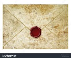 stock photo letter with wax seal