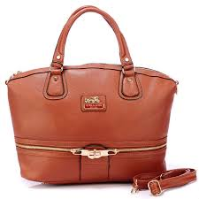 Coach Zip In Logo Large Brown Satchels BJM