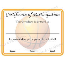 Fillable Certificates Basketball Certificate Of Participation Now Fillable Pdf Max