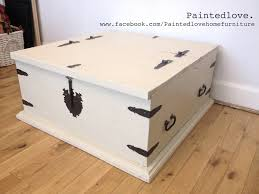 Large storage chest/trunk/coffee table painted in Annie Sloan chalk paint  with clear