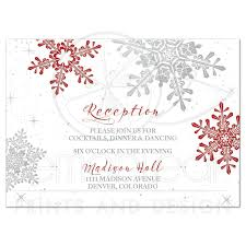 Red Silver Snowflake Winter Wedding Reception Insert Card