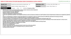 Compliance Officer Resume Resumes Templates