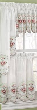 tier curtains window swag country sheer embellish your kitchen window with the gisela rose tier curtain annasl