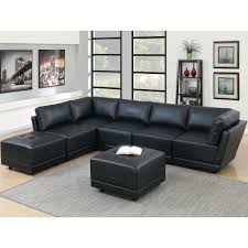 7 piece black bonded leatherette modular sectional set with ottoman