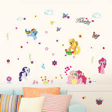 3D Cartoon My Little Pony Flower Wall Sticker Kids Room Girls Room Bedroom  Home Decor PVC