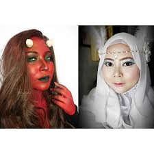 which side are you newest collaboration with my beauty ger friend simplybeautyme angel and demon devil demon shedevil angel angelanddemon