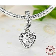 genuine sterling silver mum heart mom mother love pendant dangle charm 791521cz