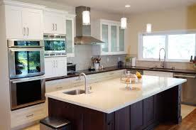 dark wood modern kitchen cabinets. Kitchen, Dark Wood Kitchen Cabinet White Granite Island Countertop Black Circle Dining Table Coffered Ceiling Modern Cabinets L