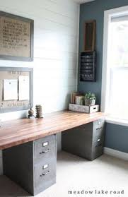 double desk home office. clean and functional office with an industrial rustic look labor junction home improvement double desk s