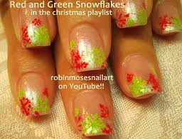 Easy snowflake nail art, Red and Green snowflakes, Penguin nail ...