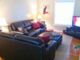 Leather Sofa Living Room Cushion Ottoman Coffee Table Living Room Family Ceiling Lights