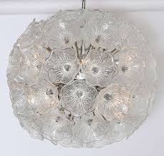 gorgeous murano chandelier with textured glass florets surrounding a chromed lighted fixture 20