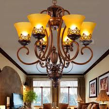 vintage chandeliers for and 6 light yellow glass shade