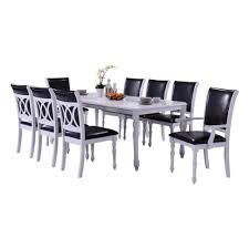 Oakland Living Indoor Black And White Modern 9 Piece Dining Set With
