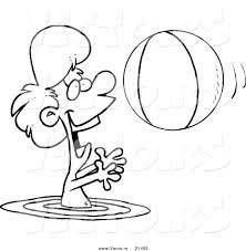 Small Picture Vector of a Cartoon Boy Playing with a Beach Ball in the Water