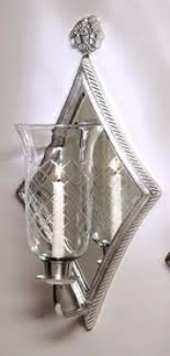 antique silver diamond mirrored hurricane wall sconce
